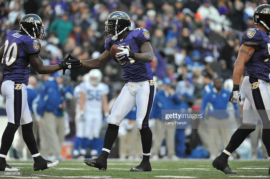 <a gi-track='captionPersonalityLinkClicked' href=/galleries/search?phrase=Bernard+Pollard&family=editorial&specificpeople=630572 ng-click='$event.stopPropagation()'>Bernard Pollard</a> #31 of the Baltimore Ravens celebrates an interception against the Indianapolis Colts at M&T Bank Stadium on December 11, 2011 in Baltimore, Maryland. The Ravens defeated the Colts 24-10.