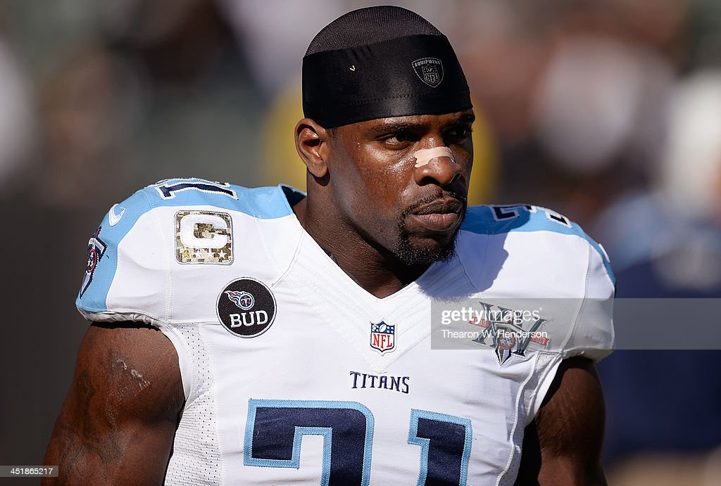 <a gi-track='captionPersonalityLinkClicked' href=/galleries/search?phrase=Bernard+Pollard&family=editorial&specificpeople=630572 ng-click='$event.stopPropagation()'>Bernard Pollard</a> #31 of the Tennessee Titans looks on during pre-game warm ups prior to playing the Oakland Raiders at O.co Coliseum on November 24, 2013 in Oakland, California.