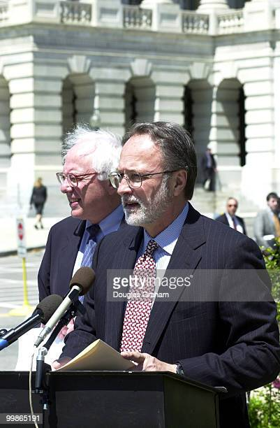 Bernard Sanders IVt and David Bonior DMich during a press conference on China and human rights