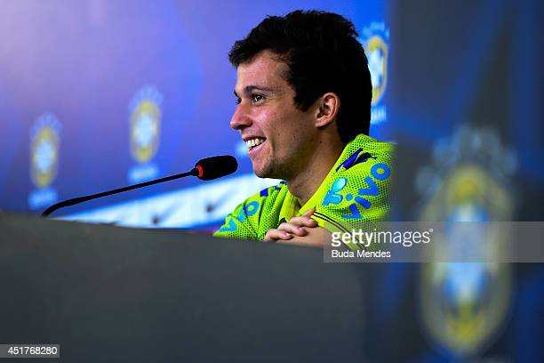 Bernard speaks during a press conference of the Brazilian national football team at the squad's Granja Comary training complex on July 06 2014 in...