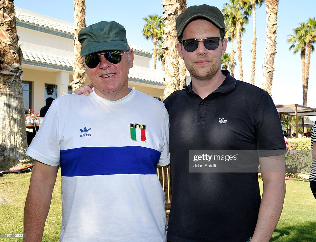 Bernard Summer and Tom Chapman of New Order attend the Soho House Pop Up with Bacardi during Coachella 2013 at Merv Griffin Estate on April 20, 2013 in La Quinta, California.
