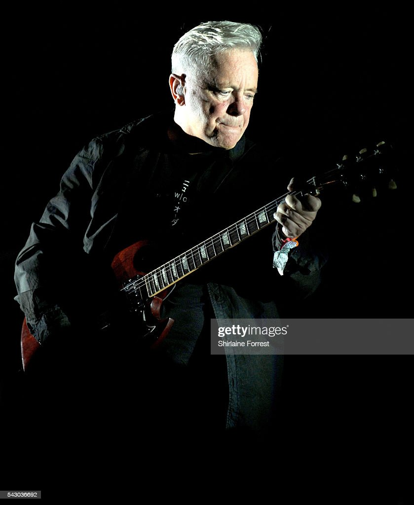 <a gi-track='captionPersonalityLinkClicked' href=/galleries/search?phrase=Bernard+Sumner&family=editorial&specificpeople=220306 ng-click='$event.stopPropagation()'>Bernard Sumner</a> of New Order performs headlining The Other Stage at Glastonbury Festival 2016 at Worthy Farm, Pilton on June 25, 2016 in Glastonbury, England.