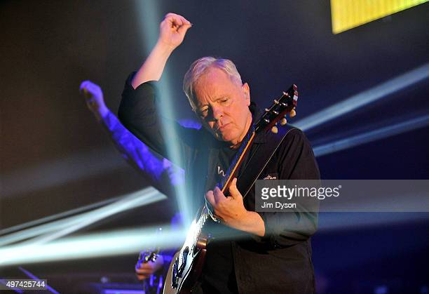 Bernard Sumner of New Order performs live on stage at Brixton Academy on November 16 2015 in London England
