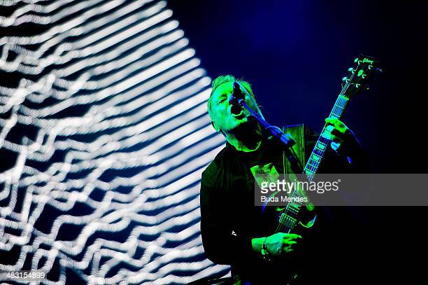 Bernard Sumner of New Order performs on stage during the 2014 Lollapalooza Brazil at Autodromo de Interlagos on April 6 2014 in Sao Paulo Brazil