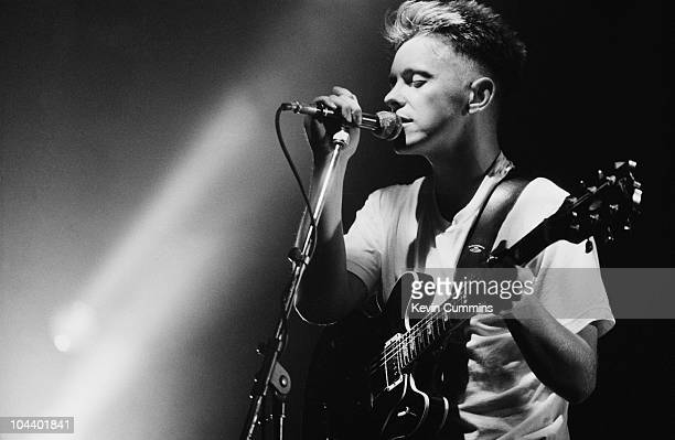 Bernard Sumner performing with New Order at the Festival of the 10th Summer Manchester 19th July 1986