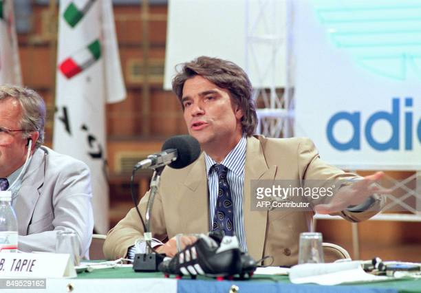 Bernard Tapie French businessman and President of Olympic of Marseille Football Club holds a press conference 07 July 1990 in Roma announcing that...