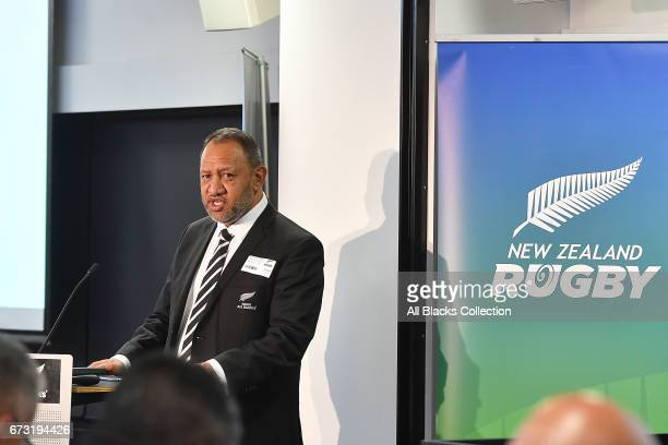 Bernard Te Paa speaks during the New Zealand Maori Rugby Board AGM at New Zealand Rugby House on April 26 2017 in Wellington New Zealand