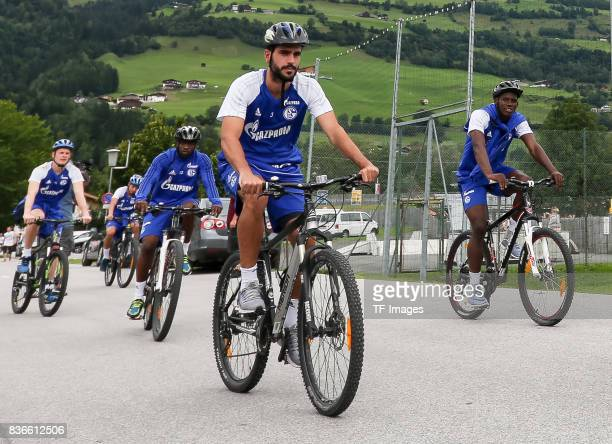 Bernard Tekpetey of Schalke Pablo Insua of Schalke Breel Embolo of Schalke controls the ball during the Training Camp of FC Schalke 04 on July 29...