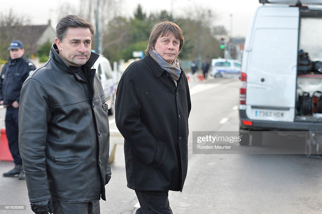 Bernard Thibault former secretary of the Confederation Generale du Travail between 1999 and 2013 arrives the funeral service of Charlie Hebdo editor...