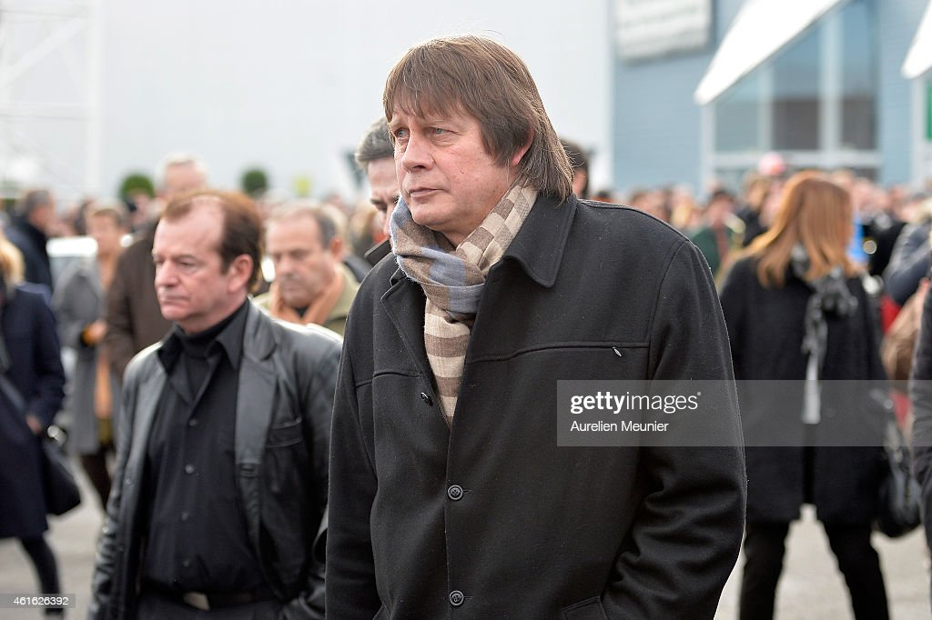 Bernard Thibault former secretary of the Confederation Generale du Travail between 1999 and 2013 leaves the funeral service of Charlie Hebdo editor...