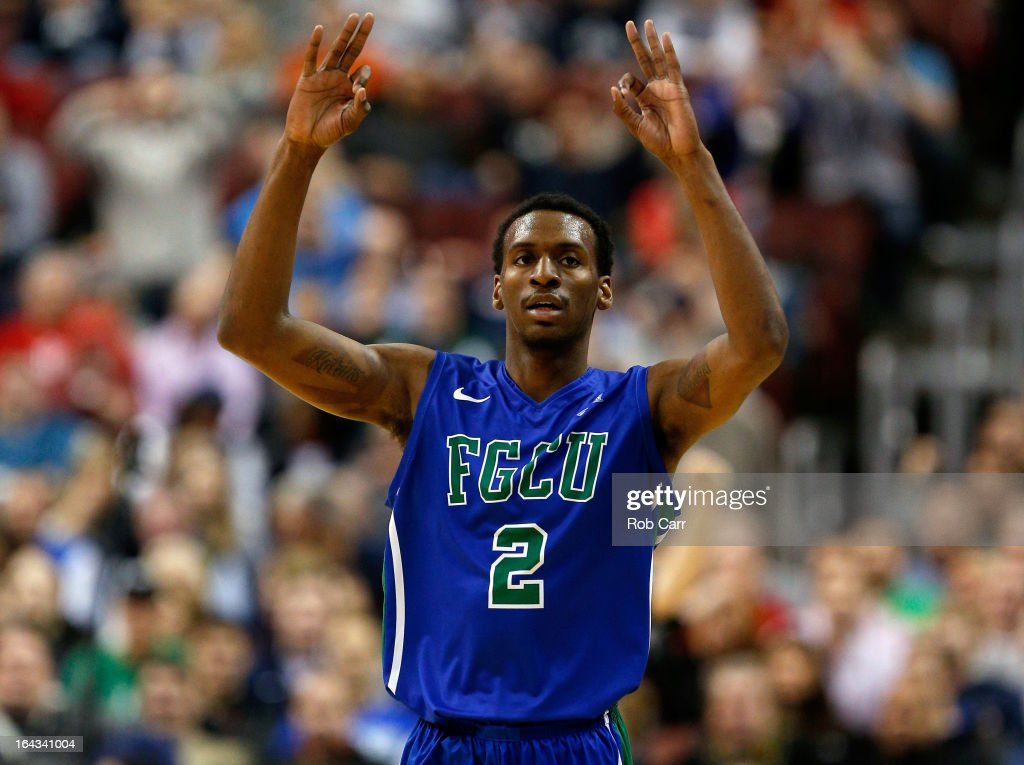 Bernard Thompson #2 of the Florida Gulf Coast Eagles reacts after he made a 3-point basket in the first half against the Georgetown Hoyas during the second round of the 2013 NCAA Men's Basketball Tournament at Wells Fargo Center on March 22, 2013 in Philadelphia, Pennsylvania.