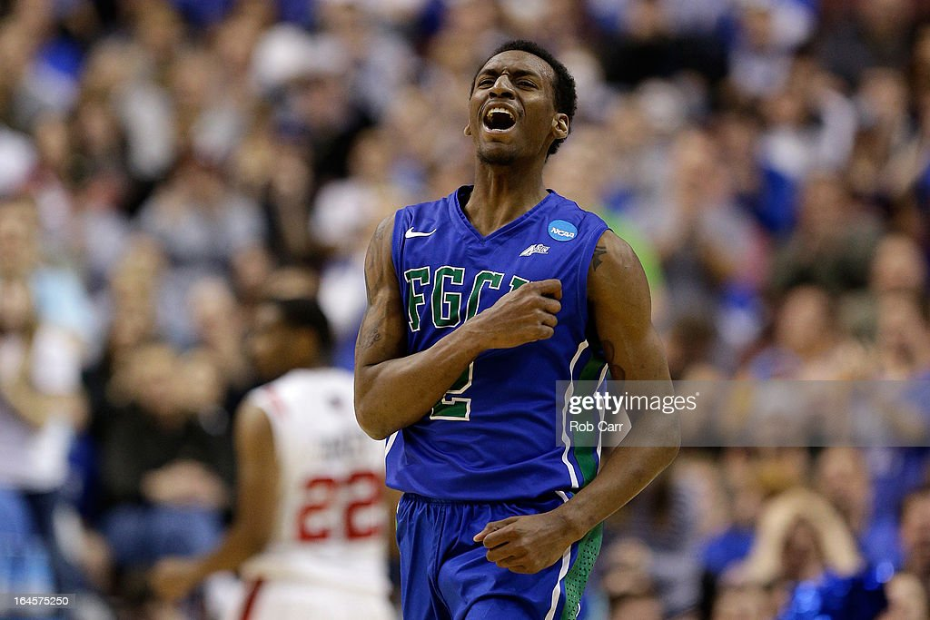 Bernard Thompson #2 of the Florida Gulf Coast Eagles reacts in the second half while taking on the San Diego State Aztecs during the third round of the 2013 NCAA Men's Basketball Tournament at Wells Fargo Center on March 24, 2013 in Philadelphia, Pennsylvania.