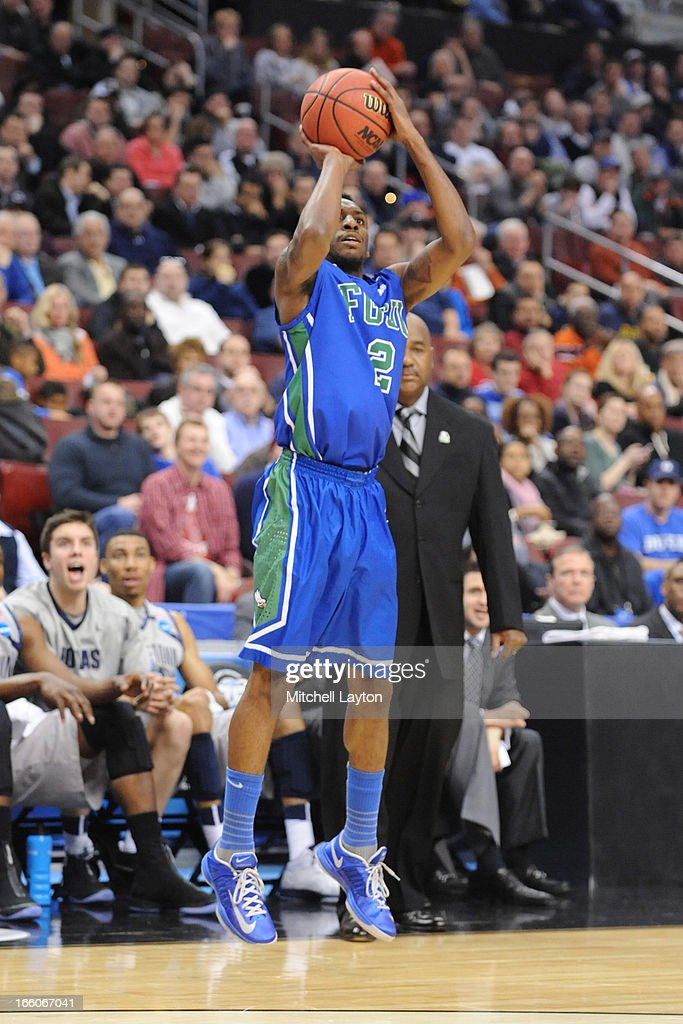 Bernard Thompson #2 of the Florida Gulf Coast Eagles takes a jump shot during the second round of the 2013 NCAA Men's Basketball Tournament game against the Georgetown Hoyas on March 22, 2013 at Wells Fargo Center in Philadelphia, Pennsylvania. The Eagles won 78-68.