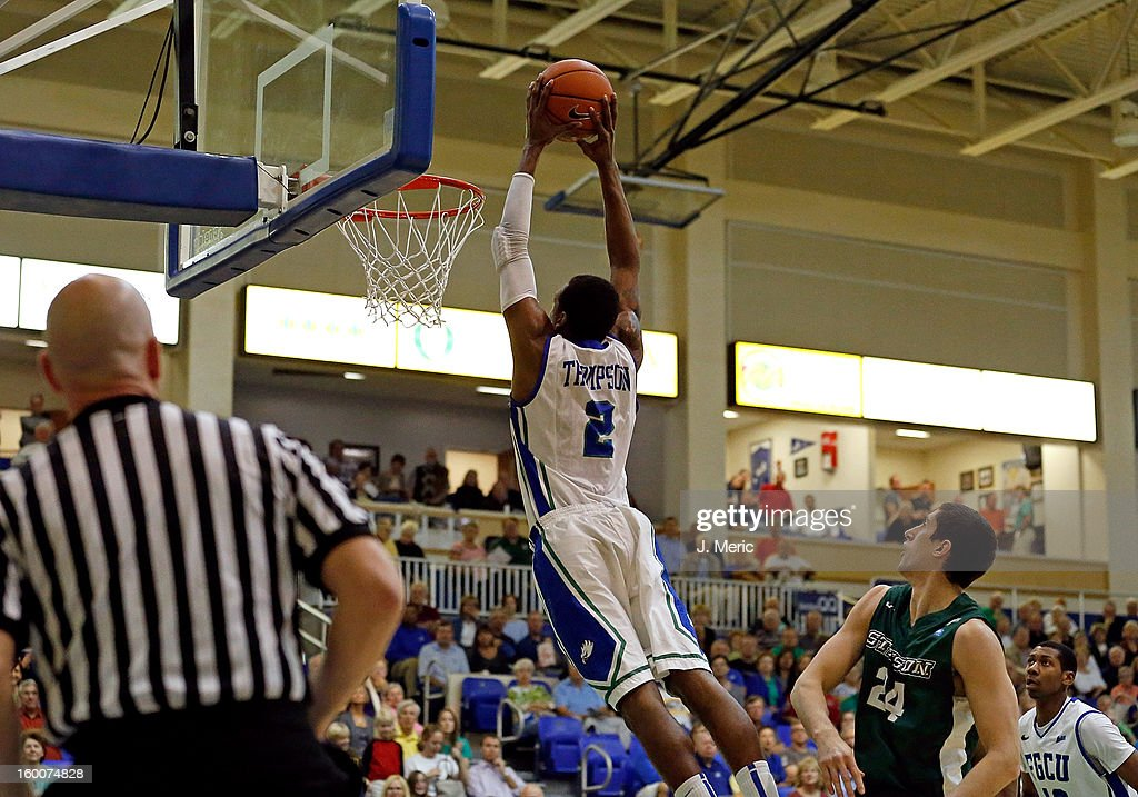 Bernard Thompson #2 of the Florida Gulf Coast University Eagles dunks against the Stetson Hatters during the game at Alico Arena on January 25, 2013 in Ft. Myers, Florida.