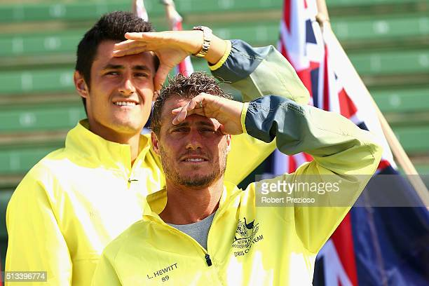 Bernard Tomic and Llewton Hewitt of Australia look on during the official draw ahead of the Davis Cup Tie between Australia and the United States at...