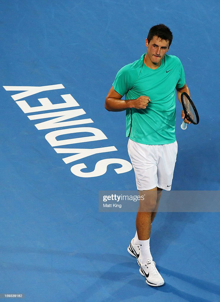 Bernard Tomic of Australia celebrates winning the first set in the men's final match against Kevin Anderson of South Africa during day seven of the Sydney International at Sydney Olympic Park Tennis Centre on January 12, 2013 in Sydney, Australia.