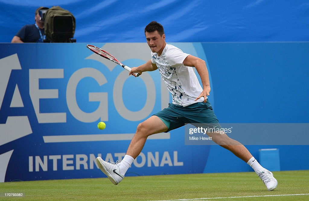Bernard Tomic of Australia in action against James Ward of Great Britain during Day Four of the AEGON Internationa at Devonshire Park on June 18, 2013 in Eastbourne, England.