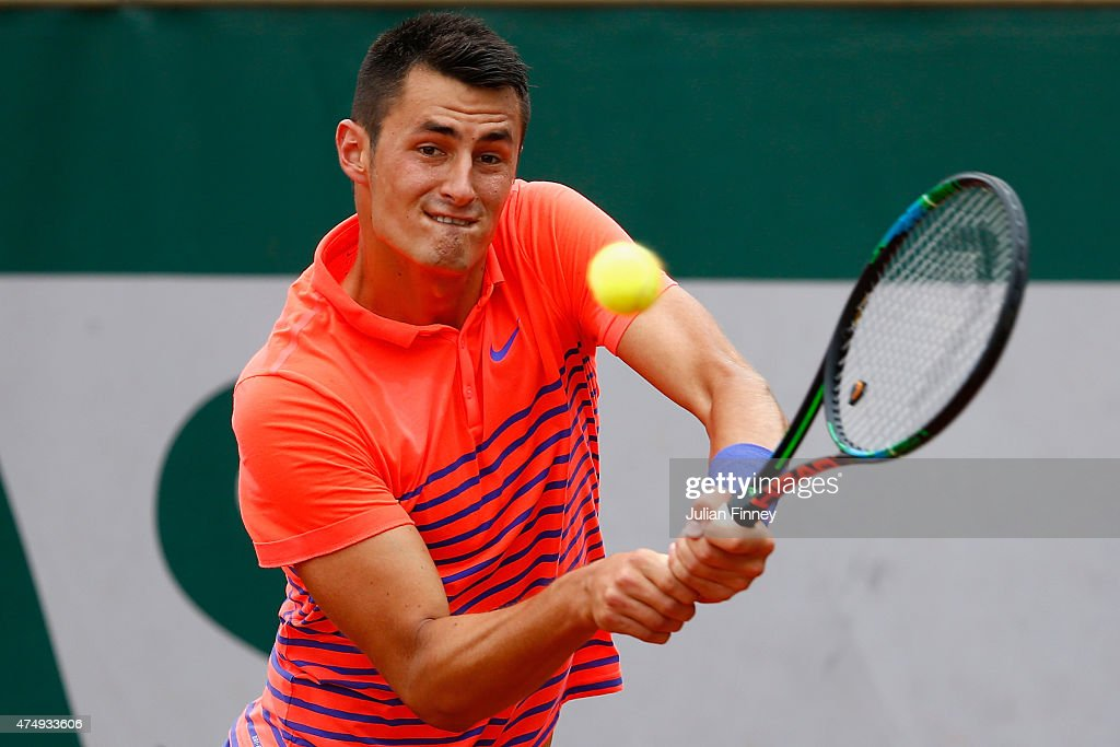 <a gi-track='captionPersonalityLinkClicked' href=/galleries/search?phrase=Bernard+Tomic&family=editorial&specificpeople=650713 ng-click='$event.stopPropagation()'>Bernard Tomic</a> of Australia plays a backhand during his Men's Singles match against Thanasi Kokkinakis of Australia on day five of the 2015 French Open at Roland Garros on May 28, 2015 in Paris, France.