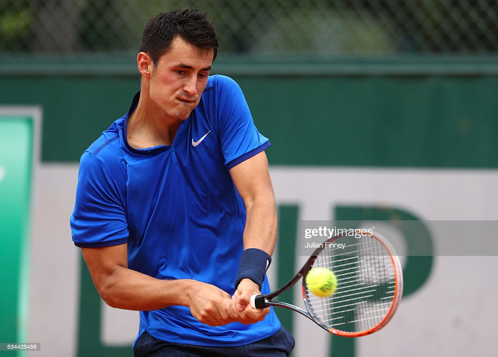 <a gi-track='captionPersonalityLinkClicked' href=/galleries/search?phrase=Bernard+Tomic&family=editorial&specificpeople=650713 ng-click='$event.stopPropagation()'>Bernard Tomic</a> of Australia plays a backhand during the Men's Singles second round match against Borna Coric of Croatia on day five of the 2016 French Open at Roland Garros on May 26, 2016 in Paris, France.