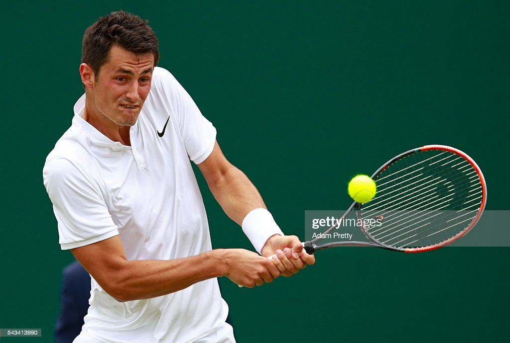 <a gi-track='captionPersonalityLinkClicked' href=/galleries/search?phrase=Bernard+Tomic&family=editorial&specificpeople=650713 ng-click='$event.stopPropagation()'>Bernard Tomic</a> of Australia plays a backhand during the Men's Singles first round match against Fernando Verdasco of Spain on day two of the Wimbledon Lawn Tennis Championships at the All England Lawn Tennis and Croquet Club on June 28, 2016 in London, England.