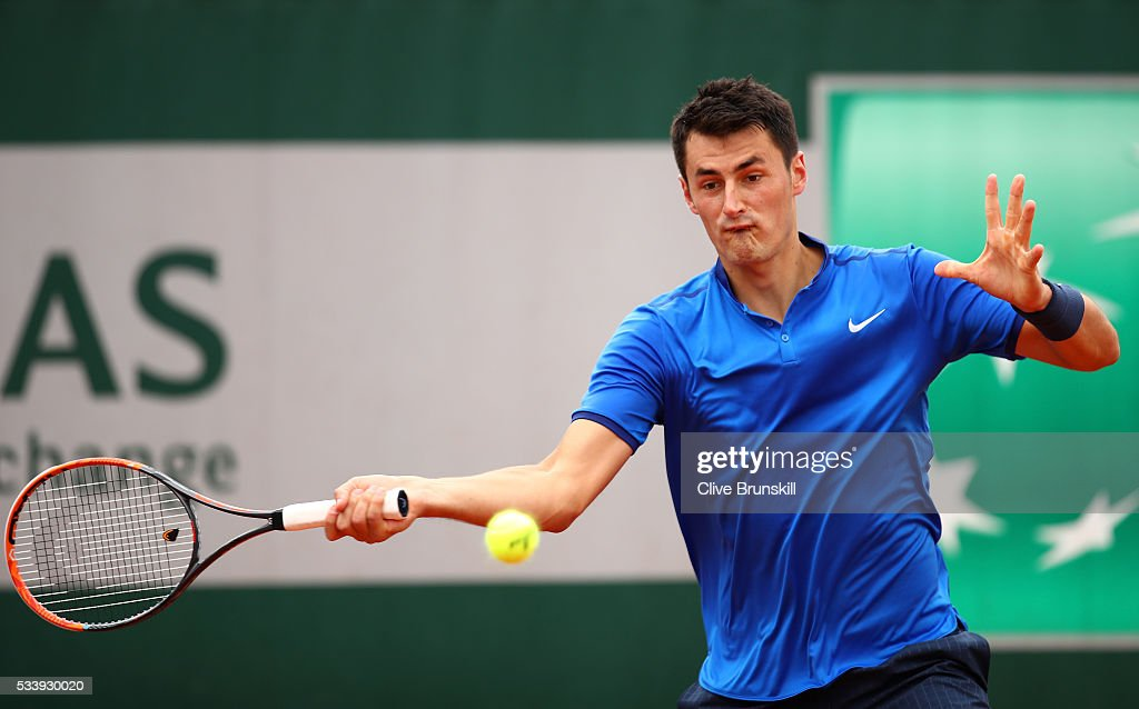 <a gi-track='captionPersonalityLinkClicked' href=/galleries/search?phrase=Bernard+Tomic&family=editorial&specificpeople=650713 ng-click='$event.stopPropagation()'>Bernard Tomic</a> of Australia plays a forehand during the Men's Singles first round match against Brian Baker of the United States on day three of the 2016 French Open at Roland Garros on May 24, 2016 in Paris, France.