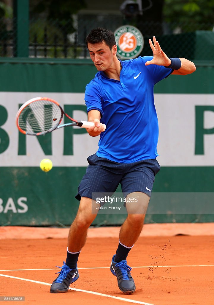 <a gi-track='captionPersonalityLinkClicked' href=/galleries/search?phrase=Bernard+Tomic&family=editorial&specificpeople=650713 ng-click='$event.stopPropagation()'>Bernard Tomic</a> of Australia plays a forehand during the Men's Singles second round match against Borna Coric of Croatia on day five of the 2016 French Open at Roland Garros on May 26, 2016 in Paris, France.