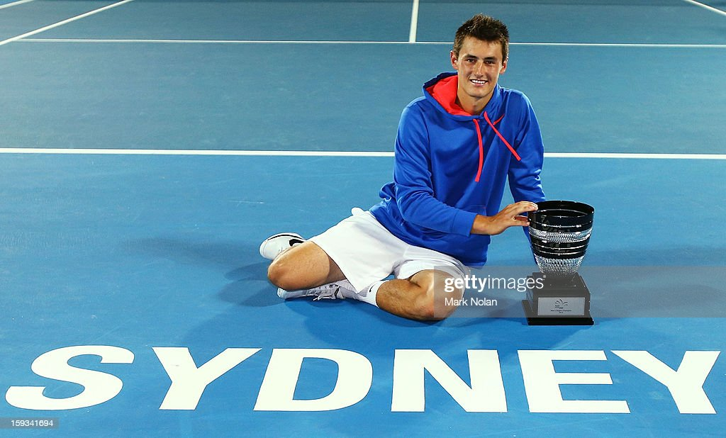 Bernard Tomic of Australia poses with the trophy after winning the Mens singles final against Kevin Anderson of South Africa during day seven of the Sydney International at Sydney Olympic Park Tennis Centre on January 12, 2013 in Sydney, Australia.