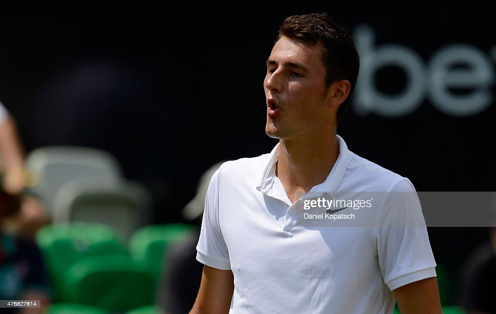 <a gi-track='captionPersonalityLinkClicked' href=/galleries/search?phrase=Bernard+Tomic&family=editorial&specificpeople=650713 ng-click='$event.stopPropagation()'>Bernard Tomic</a> of Australia reacts during his match against Rafael Nadal of Spain on day seven of Mercedes Cup 2015 on June 12, 2015 in Stuttgart, Germany.
