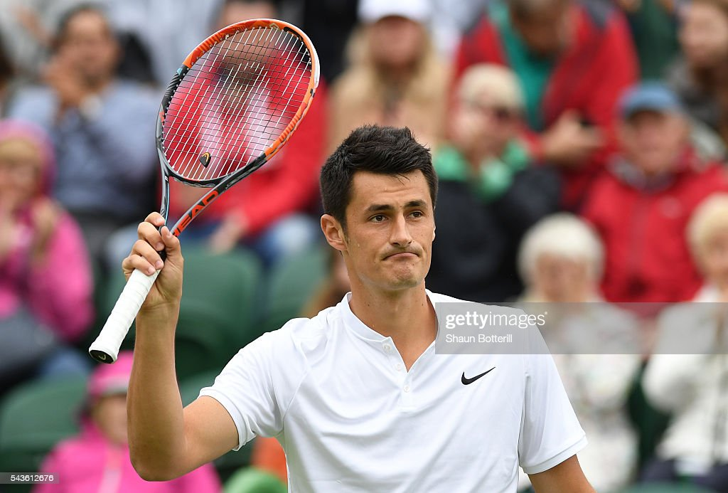 <a gi-track='captionPersonalityLinkClicked' href=/galleries/search?phrase=Bernard+Tomic&family=editorial&specificpeople=650713 ng-click='$event.stopPropagation()'>Bernard Tomic</a> of Australia reacts during the Men's Singles first round match against Fernando Verdasco of Spain on day three of the Wimbledon Lawn Tennis Championships at the All England Lawn Tennis and Croquet Club on June 29, 2016 in London, England.