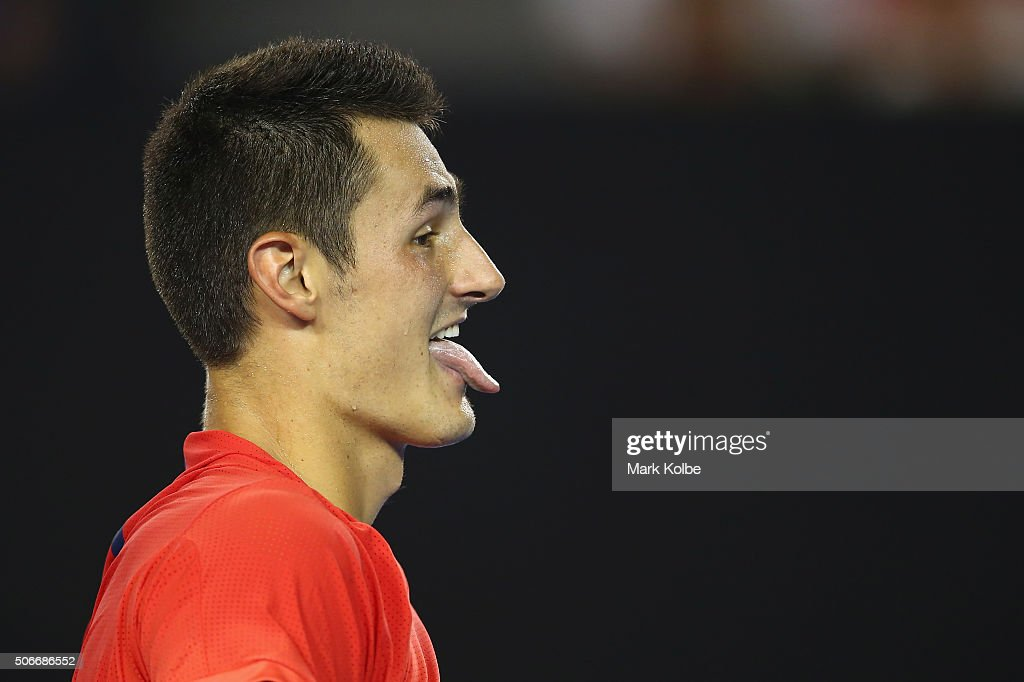 <a gi-track='captionPersonalityLinkClicked' href=/galleries/search?phrase=Bernard+Tomic&family=editorial&specificpeople=650713 ng-click='$event.stopPropagation()'>Bernard Tomic</a> of Australia reacts in his fourth round match against Andy Murray of Great Britain during day eight of the 2016 Australian Open at Melbourne Park on January 25, 2016 in Melbourne, Australia.
