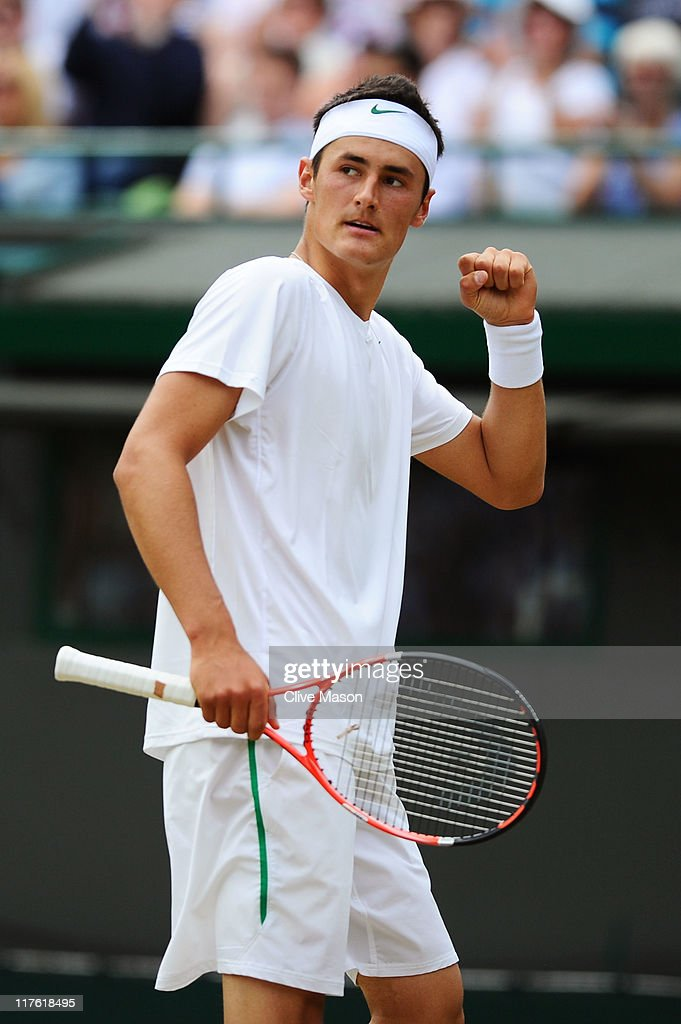 Bernard Tomic of Australia reacts to a play during his quarterfinal round match against Novak Djokovic of Serbia on Day Nine of the Wimbledon Lawn Tennis Championships at the All England Lawn Tennis and Croquet Club on June 29, 2011 in London, England.