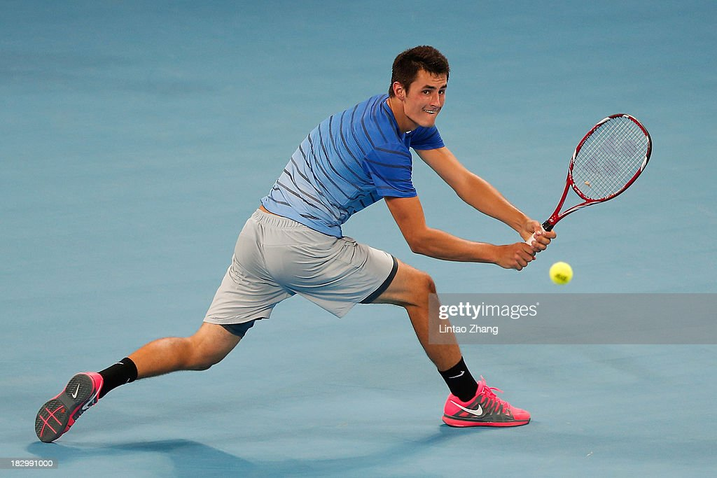 <a gi-track='captionPersonalityLinkClicked' href=/galleries/search?phrase=Bernard+Tomic&family=editorial&specificpeople=650713 ng-click='$event.stopPropagation()'>Bernard Tomic</a> of Australia returns a shot during his men's singles match against Richard Gasquet of France on day six of the 2013 China Open at the National Tennis Center on October 3, 2013 in Beijing, China.