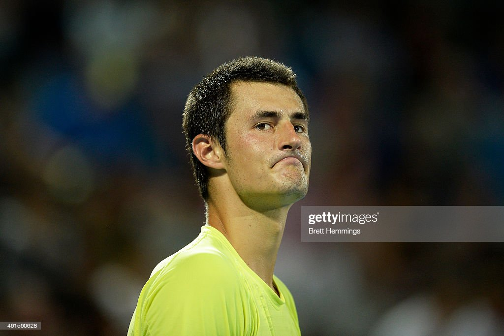 <a gi-track='captionPersonalityLinkClicked' href=/galleries/search?phrase=Bernard+Tomic&family=editorial&specificpeople=650713 ng-click='$event.stopPropagation()'>Bernard Tomic</a> of Australia shows his dejection in his semi final round match against Gilles Muller of Luxembourg during day five of the Sydney International at Sydney Olympic Park Tennis Centre on January 15, 2015 in Sydney, Australia.