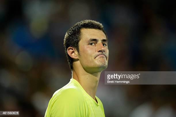 Bernard Tomic of Australia shows his dejection in his semi final round match against Gilles Muller of Luxembourg during day five of the Sydney...