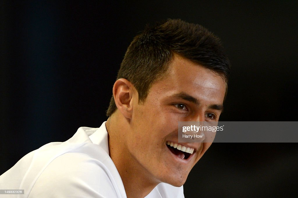 Bernard Tomic of Australia smiles during an AOC Press Conference ahead of the London 2012 Olympic Games at the Main Press Centre in Olympic Park on July 27, 2012 in London, England.