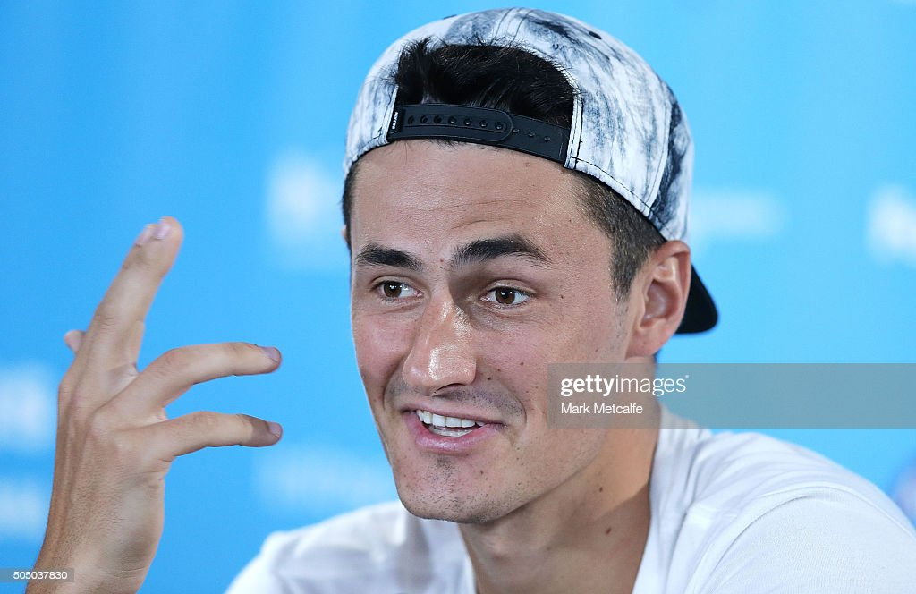Bernard Tomic of Australia speaks in a press conference after forfeiting his quarter final match against Teymuraz Gabashvili of Russia during day six of the 2016 Sydney International at Sydney Olympic Park Tennis Centre on January 15, 2016 in Sydney, Australia.