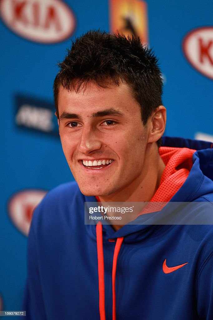 <a gi-track='captionPersonalityLinkClicked' href=/galleries/search?phrase=Bernard+Tomic&family=editorial&specificpeople=650713 ng-click='$event.stopPropagation()'>Bernard Tomic</a> of Australia speaks to the media ahead of the 2013 Australian Open at Melbourne Park on January 13, 2013 in Melbourne, Australia.