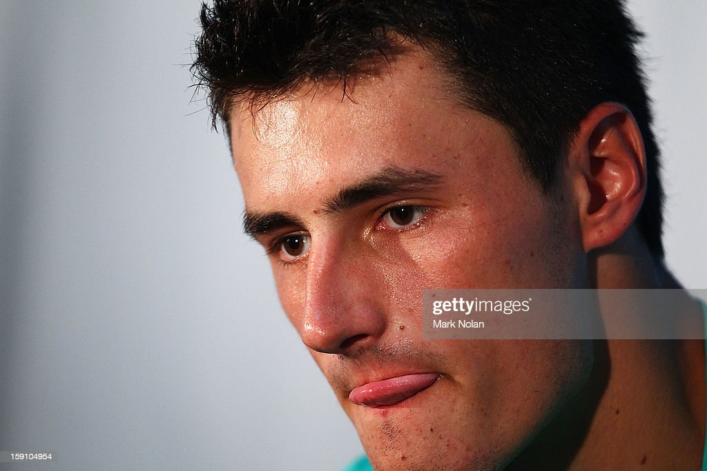 <a gi-track='captionPersonalityLinkClicked' href=/galleries/search?phrase=Bernard+Tomic&family=editorial&specificpeople=650713 ng-click='$event.stopPropagation()'>Bernard Tomic</a> of Australia talks to the media after his round one match against Marinko Matosevic of Australia during day three of Sydney International at Sydney Olympic Park Tennis Centre on January 8, 2013 in Sydney, Australia.