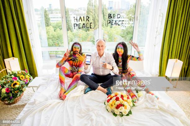 Bernard Weber here shown amongst body painted performers announces that the launch of the '7 Symbols of Peace' voting campaign will be on World Peace...