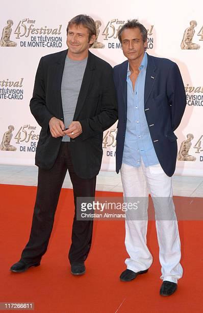 Bernard Yerlès and JeanMichel Tinivelli during 45th Monte Carlo Television Festival TF1 Cocktail Arrivals at Grimaldi Forum in Monte Carlo Monaco