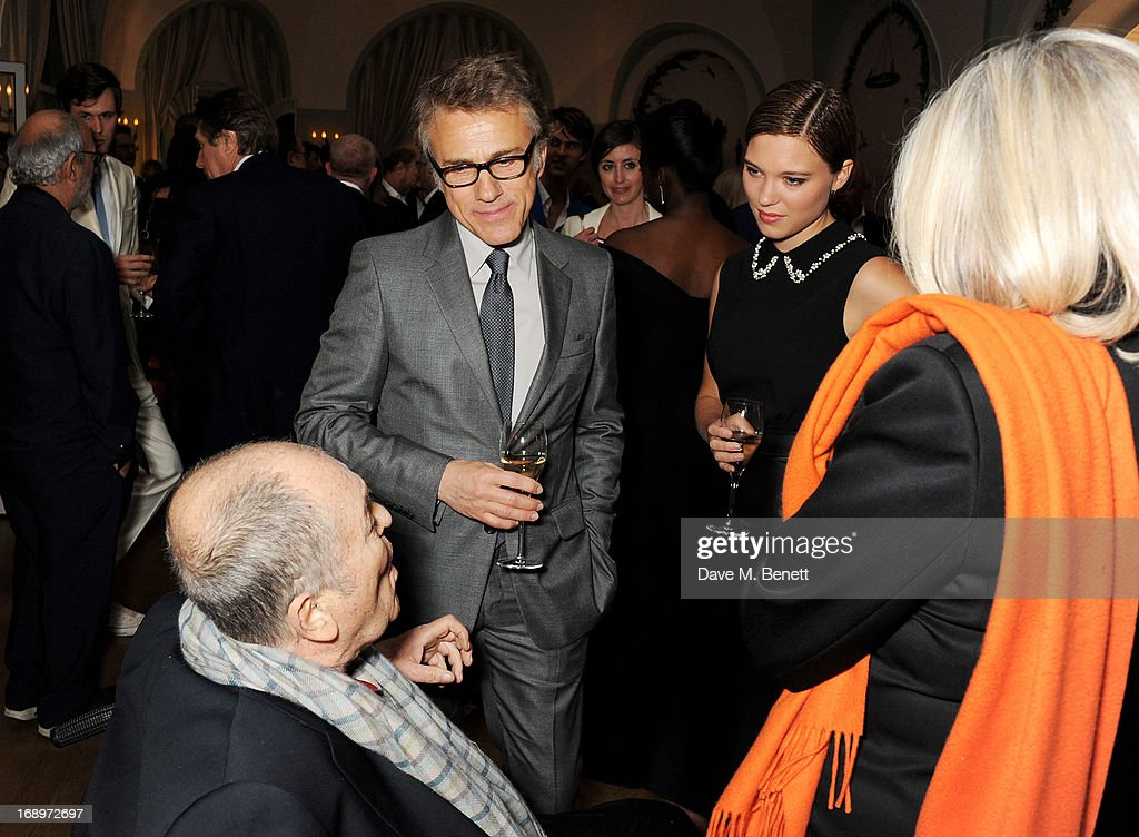 Bernardo Bertolucci (L) and Christoph Waltz attend the annual Finch's Quarterly Review Filmmakers Dinner hosted by Charles Finch, Caroline Scheufele and Nick Foulkes at Hotel Du Cap Eden Roc on May 17, 2013 in Antibes, France.