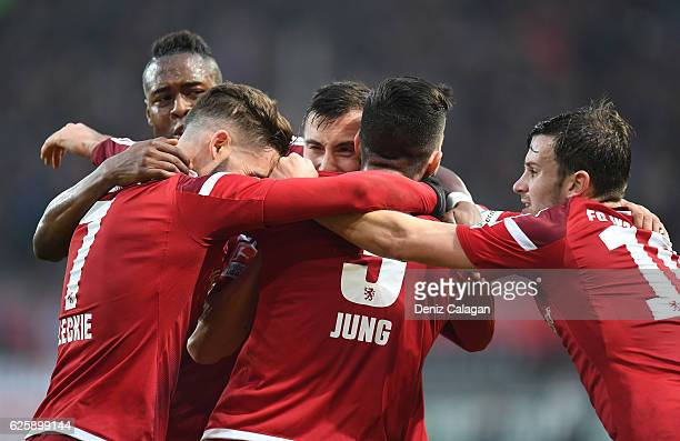 Bernardo De Oliveira Mathew Leckie Anthony Jung Pascal Gross of Ingolstadt celebrate their teams first goal during the Bundesliga match between FC...