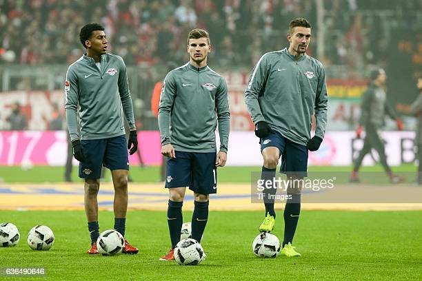 Bernardo Fernandes da Silva Junior of Leipzig Timo Werner of Leipzig and Stefan Ilsanker of Leipzig looks on during the Bundesliga match between...