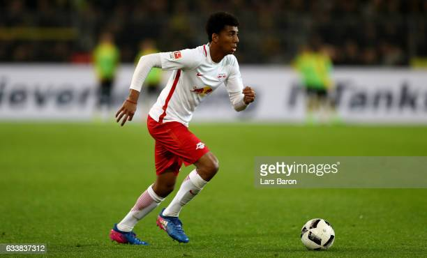 Bernardo of Leipzig runs with the ball during the Bundesliga match between Borussia Dortmund and RB Leipzig at Signal Iduna Park on February 4 2017...