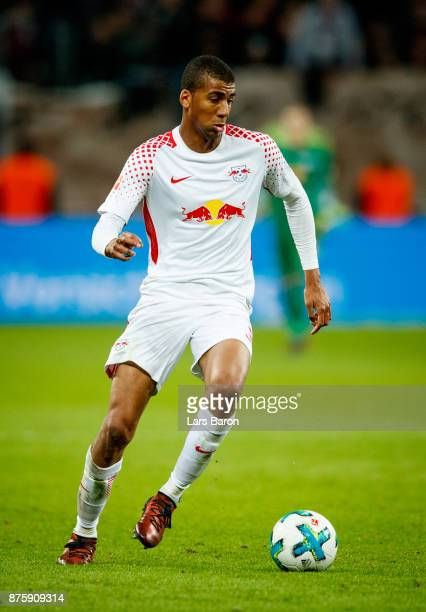 Bernardo of Leipzig runs with the ball during the Bundesliga match between Bayer 04 Leverkusen and RB Leipzig at BayArena on November 18 2017 in...