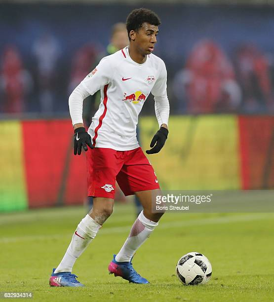 Bernardo of RB Leipzig runs with the ball during the Bundesliga match between RB Leipzig and TSG 1899 Hoffenheim at Red Bull Arena on January 28 2017...