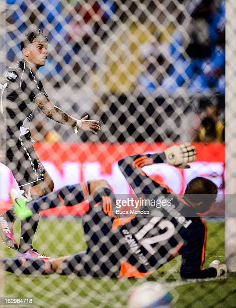 Bernardo of Vasco celebrates a scored goal during the match between Fluminense and Vasco as part of Carioca Championship 2013 at Engenhao Stadium on...