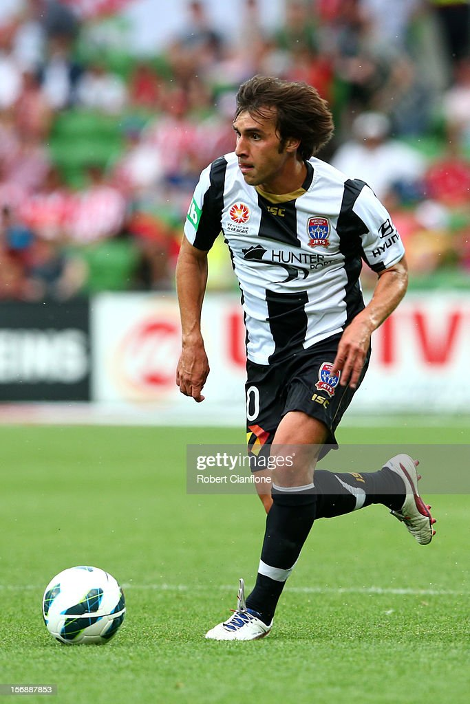 Bernardo Ribeiro of the Jets runs with the ball during the round eight A-League match between the Melbourne Heart and the Newcastle Jets at AAMI Park on November 24, 2012 in Melbourne, Australia.