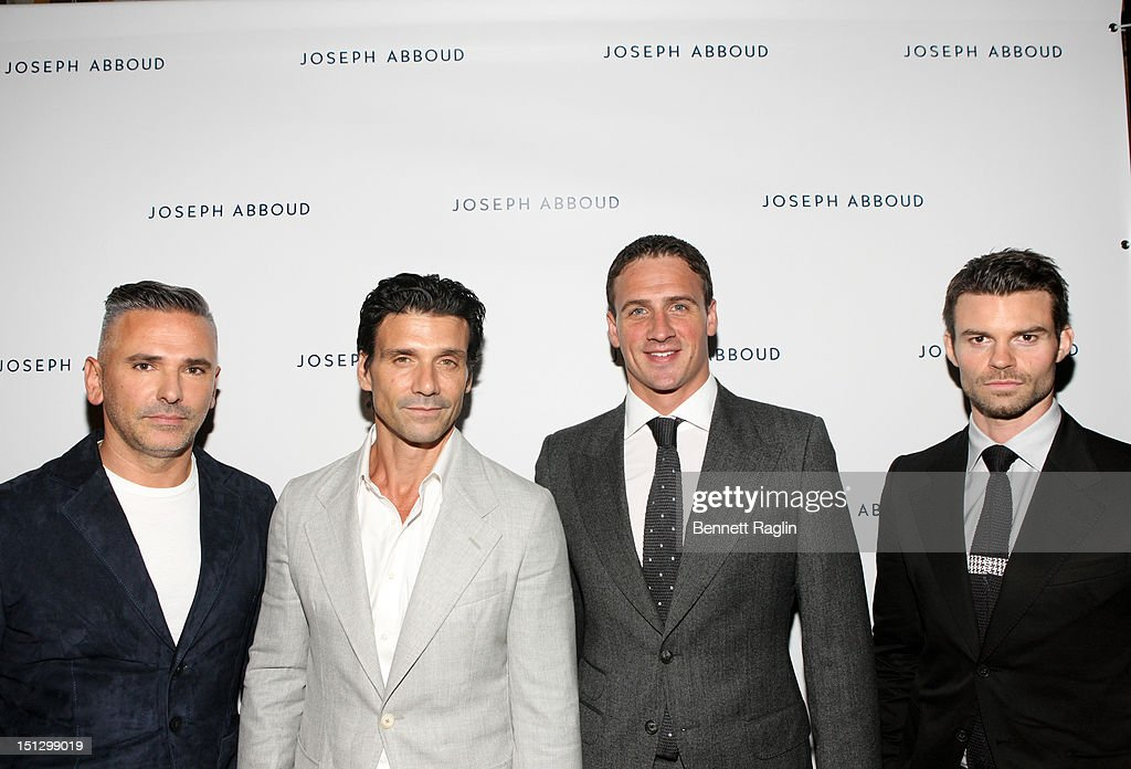 Bernardo Rojo, Frank Grillo, Ryan Lochte, Daniel Gillies attend Joseph Abboud during Spring 2013 Mercedes-Benz Fashion Week at the New York Public Library on September 5, 2012 in New York City.