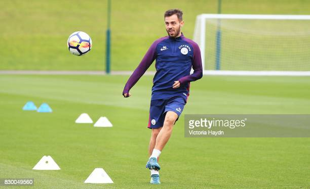 Bernardo Silva during Manchester City training at Etihad Campus on August 11 2017 in Manchester England